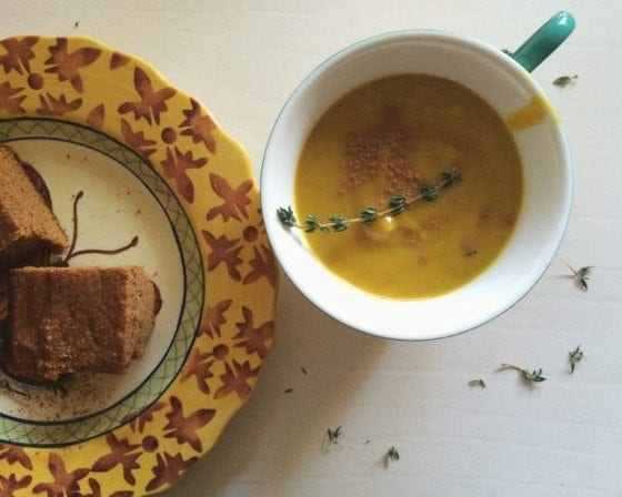 Acorn Squash & Sweet Potato Soup (Vegan, Gluten-Free, Paleo)